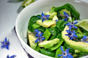 snow peas avocado spinach salad